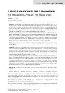 EL ENFOQUE DE CAPACIDADES PARA EL TRABAJO SOCIAL THE CAPABILITIES APPROACH FOR SOCIAL WORK