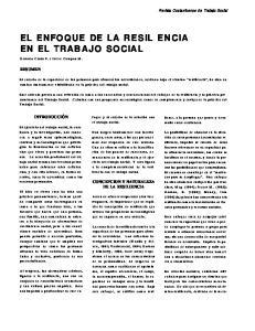 EL ENFOQUE DE LA RESIL ENCIA EN EL TRABAJO SOCIAL