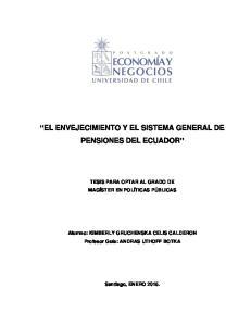 EL ENVEJECIMIENTO Y EL SISTEMA GENERAL DE PENSIONES DEL ECUADOR