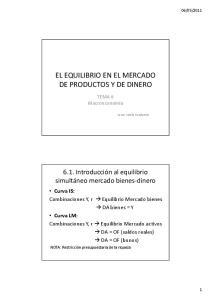 EL EQUILIBRIO EN EL MERCADO DE PRODUCTOS Y DE DINERO