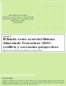 El Estado como actor del Sistema Alimentario Venezolano (SAV): conflicto y escenarios prospectivos
