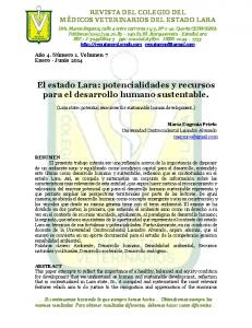 El estado Lara: potencialidades y recursos para el desarrollo humano sustentable