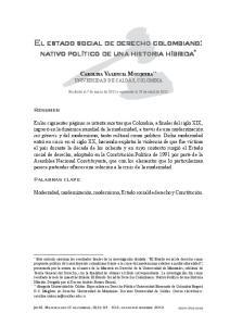 EL ESTADO SOCIAL DE DERECHO COLOMBIANO: