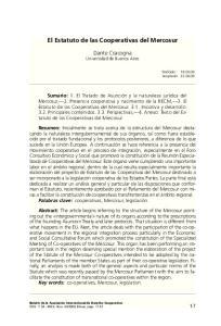 El Estatuto de las Cooperativas del Mercosur
