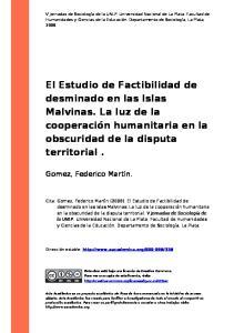 El Estudio de Factibilidad de desminado en las Islas Malvinas. La luz de la cooperación humanitaria en la obscuridad de la disputa territorial