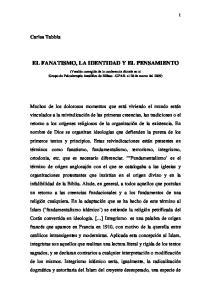 EL FANATISMO, LA IDENTIDAD Y EL PENSAMIENTO