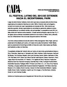 EL FESTIVAL LATINO DEL 2013 SE EXTIENDE HACIA EL BICENTENNIAL PARK