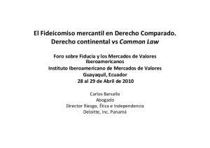 El Fideicomiso mercantil en Derecho Comparado. Derecho continental vs Common Law