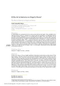 El fin de la historia en Hegel y Marx*