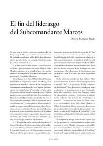 El fin del liderazgo del Subcomandante Marcos