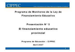 El financiamiento educativo provincial
