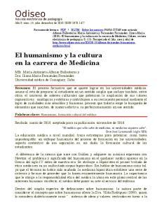 El humanismo y la cultura en la carrera de Medicina