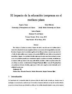 El impacto de la educación temprana en el mediano plazo