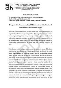 El Impacto de las Transnacionales y Multinacionales en Colombia sobre el Medioambiente y los Derechos Humanos