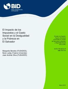El Impacto de los Impuestos y el Gasto Social en la Desigualdad y la Pobreza en El Salvador