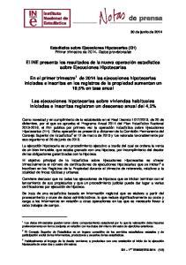 El INE presenta los resultados de la nueva operación estadística sobre Ejecuciones Hipotecarias
