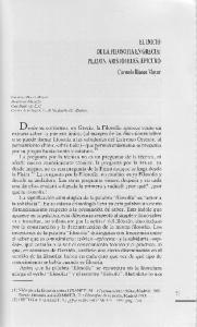 EL INICIO DE LA FILOSOFIA EN GRECIA: PLATON, ARISTOTELES, EPICURO Carmelo Blanco Mayor