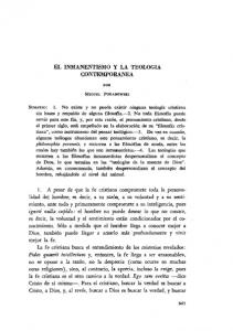 EL INMANENTISMO Y LA TEOLOGIA CONTEMPORANEA