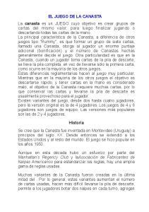 EL JUEGO DE LA CANASTA