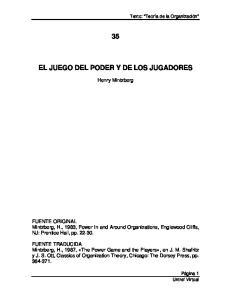 EL JUEGO DEL PODER Y DE LOS JUGADORES