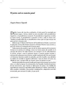 El juicio oral en materia penal