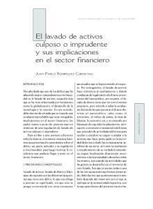 El lavado de activos culposo o imprudente y sus implicaciones en el sector financiero