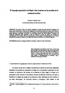 El lenguaje especulativo de Hegel y San Anselmo en las pruebas de la existencia de Dios