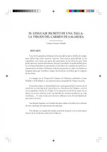 EL LENGUAJE SECRETO DE UNA TALLA: LA VIRGEN DEL CARMEN DE GALAROZA