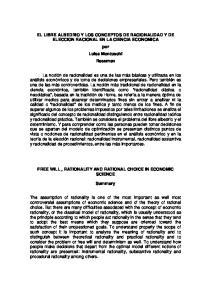 EL LIBRE ALBEDRIO Y LOS CONCEPTOS DE RACIONALIDAD Y DE ELECCION RACIONAL EN LA CIENCIA ECONOMICA por Luisa Montuschi Resumen