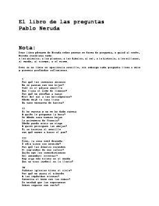 El libro de las preguntas Pablo Neruda