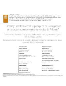 El liderazgo transformacional: la percepción de los seguidores en las organizaciones no gubernamentales de Antioquia*