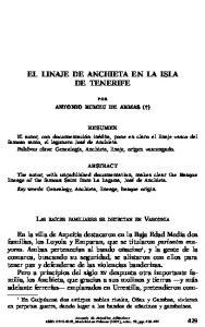 EL LINAJE DE ANCHIETA EN LA ISLA DE TENERIFE