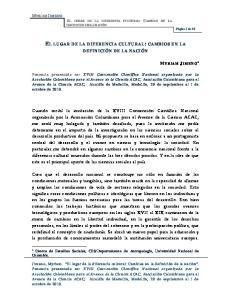 EL LUGAR DE LA DIFERENCIA CULTURAL: CAMBIOS EN LA