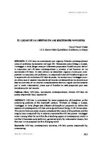 EL LUGAR DE LA LIBERTAD EN LAS SOCIEDADES NIHILISTAS