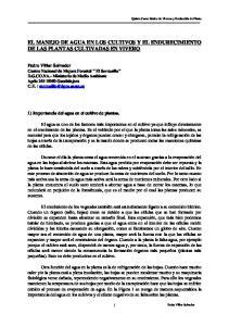 EL MANEJO DE AGUA EN LOS CULTIVOS Y EL ENDURECIMIENTO DE LAS PLANTAS CULTIVADAS EN VIVERO