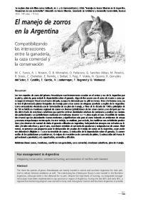 El manejo de zorros en la Argentina