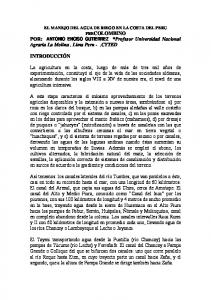 EL MANEJO DEL AGUA DE RIEGO EN LA COSTA DEL PERU PRECOLOMBINO POR: ANTONIO ENCISO GUTIERREZ