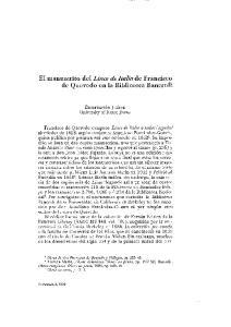 El manuscrito del Lince de Italia de Francisco de Quevedo en la Biblioteca Bancroft