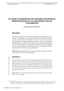 EL MARCO NORMATIVO DEL SISTEMA DE RIESGOS PROFESIONALES EN LA SEGURIDAD SOCIAL COLOMBIANA