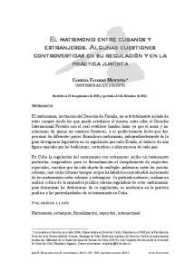 EL MATRIMONIO ENTRE CUBANOS Y