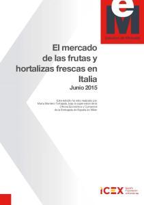 El mercado de las frutas y hortalizas frescas en Italia Junio 2015
