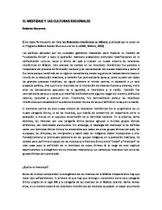 EL MESTIZAJE Y LAS CULTURAS REGIONALES