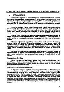 EL METODO OWAS PARA LA EVALUACION DE POSTURAS DE TRABAJO