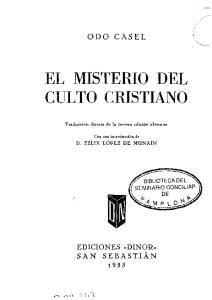 EL MISTERIO DEL CULTO CRISTIANO