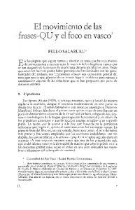El movimiento de las. frases-qu y el foco en vasco1 PELLO SALABURU2:- O. El problema