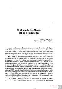 El Movimiento Obrero en la II República