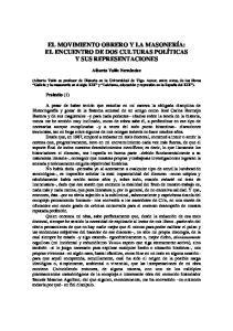 EL MOVIMIENTO OBRERO Y LA MASONERÍA: EL ENCUENTRO DE DOS CULTURAS POLÍTICAS Y SUS REPRESENTACIONES