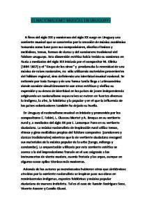 EL NACIONALISMO MUSICAL EN URUGUAY I