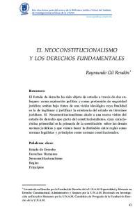 EL NEOCONSTITUCIONALISMO Y LOS DERECHOS FUNDAMENTALES