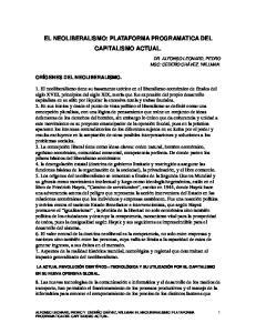 EL NEOLIBERALISMO: PLATAFORMA PROGRAMATICA DEL CAPITALISMO ACTUAL